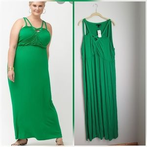 NWT lane bryant green knit maxi dress